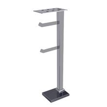 Porta Papel Higiênico de Chão com Suporte de Celular Metal e Vidro Duplo Premium Preto e Prata Ducon Metais