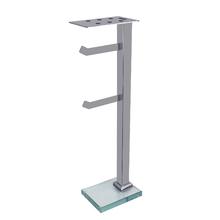 Porta Papel Higiênico de Chão com Suporte de Celular Metal e Vidro Duplo Premium Prata Ducon Metais