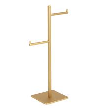 Porta Papel Higiênico Metal Duplo Dourado Fosco Quartzo Fani