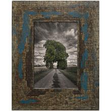 Porta Retrato Madeira de Demolição Azul 10x15cm