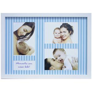 Porta Retrato Multifotos Baby Azul 37x27cm