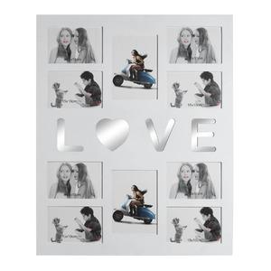 Porta Retrato Multifotos LOVE Branco 47,5x58,5cm