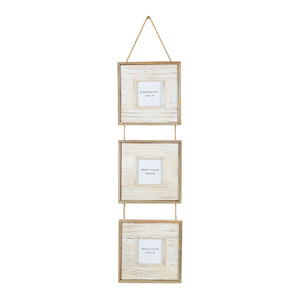 Porta Retrato Multifotos Madeira Branco 18,5x73cm