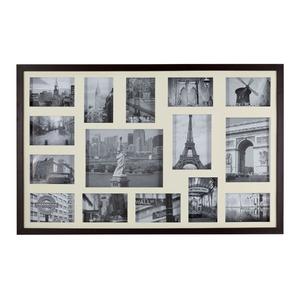 Porta Retrato Multifotos Madeira e Vidro Bege 53x83cm