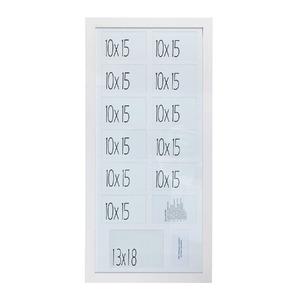 Porta Retrato Multifotos Madeira e Vidro Branco 40x85cm