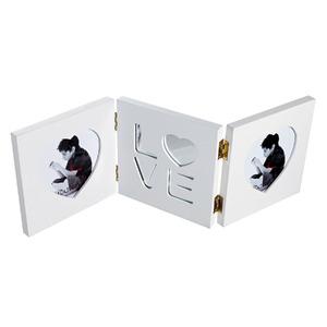 Porta Retrato Multifotos Madeira e Vidro Branco 42x14cm