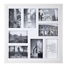Porta Retrato Multifotos Madeira e Vidro Branco 43x43cm
