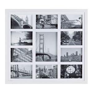 Porta Retrato Multifotos Madeira e Vidro Branco 53x48cm
