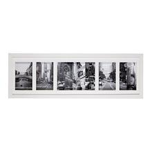 Porta Retrato Multifotos Madeira e Vidro Branco 65x20cm