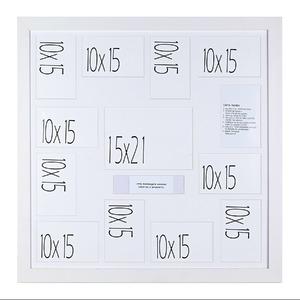 Porta Retrato Multifotos Madeira e Vidro Branco 66x66cm