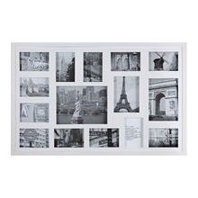 Porta Retrato Multifotos Madeira e Vidro Branco 83x53cm