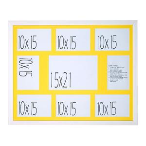 Porta Retrato Multifotos Madeira e Vidro Branco e Amarelo 40x50cm