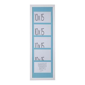 Porta Retrato Multifotos Madeira e Vidro Branco e Azul 22x64cm