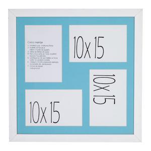 Porta Retrato Multifotos Madeira e Vidro Branco e Azul 30x30cm