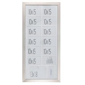 Porta Retrato Multifotos Madeira e Vidro Branco e Preto 40x85cm