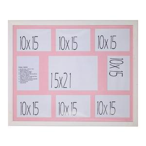 Porta Retrato Multifotos Madeira e Vidro Branco e Rosa 40x50cm