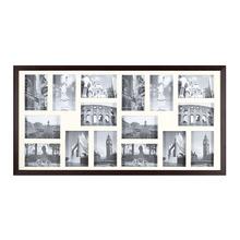 Porta Retrato Multifotos Madeira e Vidro Crú 43x83cm