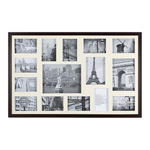 Porta Retrato Multifotos Madeira e Vidro Crú 53x83cm
