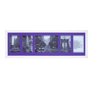 Porta Retrato Multifotos Madeira e Vidro Lilás 65x20cm