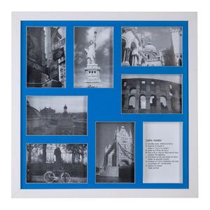 Porta Retrato Multifotos Madeira e Vidro Marinho 43x43cm