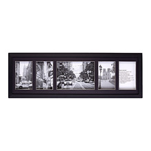 Porta Retrato Multifotos Madeira e Vidro Preto 20x65cm