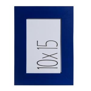 Porta Retrato Unifoto Madeira e Vidro Azul 10x15cm