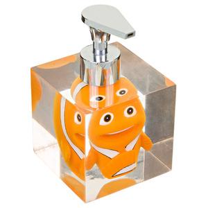 Porta Sabonete Líquido 100ml Resina Quadrado Peixe Incolor