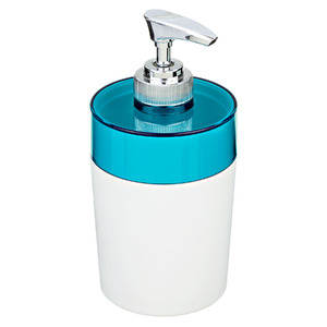 Porta Sabonete Líquido 340ml Plástico Color Azul e Branco