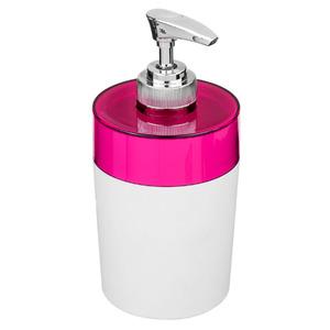 Porta Sabonete Líquido 340ml Plástico Color Rosa e Branco