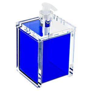 Porta Sabonete Líquido 400ml Acrílico Quadrado Nobre Azul