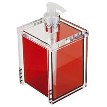 Porta Sabonete Líquido 400ml Acrílico Quadrado Nobre Vermelho