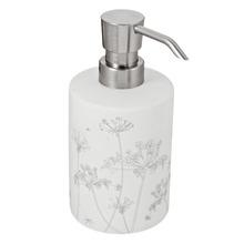 Porta Sabonete Líquido 400ml Louça Redondo Floral Branco