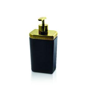 Porta Sabonete Líquido 450ml Plástico e Metal Preto e Dourado