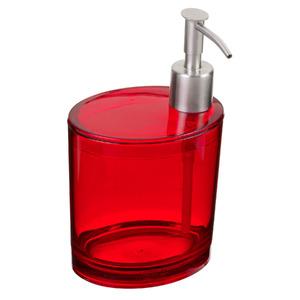 Porta Sabonete Líquido 500ml Plástico Oval Retrô Vermelho Incolor