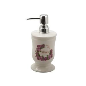 Porta Sabonete Líquido Bege em Cerâmica Sweet Home Importado
