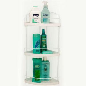 Porta Shampoo Canto Triplo Crom/Branco