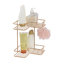 Porta Shampoo de Canto Duplo Parafuso Metal Rose Gold 28,5x23x22cm Premium Arthi