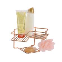 Porta Shampoo de Canto Simples com Saboneteira Parafuso Metal Rose Gold 15x23x22cm Premium Arthi