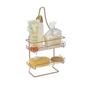 Porta Shampoo Reto Duplo com Saboneteira Pendurar no Registro Metal Rose Gold 42,5x10,5x22,5cm Arthi