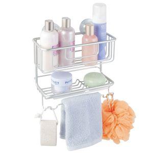 Porta Shampoo Reto Duplo com Saboneteira Ventosa Metal Prata Turn-N-Lock Interdesign