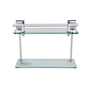 Porta Shampoo Reto Duplo Parafuso Metal e Vidro Prata 31x10,5x33cm Ducon Metais