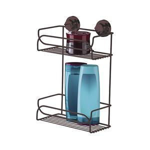 Porta Shampoo Reto Duplo Ventosa Metal Bronze 34x25x14cm Future