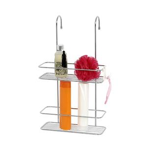 Porta Shampoo Reto Duplo Pendurar no Box Metal Prata 50x28,5x15cm Encaixe Sensea