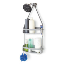 Porta Shampoo Reto Duplo Pendurar no Registro Plástico Cinza 64.77x8.89x30.81cm Home Umbra