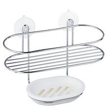 Porta Shampoo Reto Duplo 15,50x10,50x23cm Prata e Branco