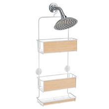 Porta Shampoo Reto Madeira e Metal Essential Interdesign