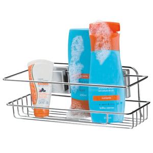 Porta Shampoo Reto Simples Parafuso Metal Preto Brilhante 10,5x11x30cm Arthi