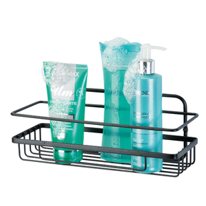 Porta Shampoo Reto Simples com Saboneteira Parafuso Metal Preto Brilhante 14,5x21,5x42,5cm Arthi