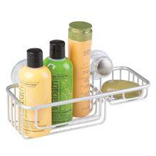 Porta Shampoo Reto Simples com Saboneteira Ventosa Metal Prata Turn-N-Lock Interdesign