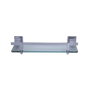 Porta Shampoo Reto Simples Parafuso Metal e Vidro Prata 6,5x10,5x33cm Ducon Metais
